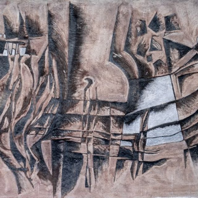"""Sgrafitto pe fațada Colegiului Tehnic """"Gheorghe Cartianu"""", ilustrează prin figuri stilizate procesul meșteșugăresc"""