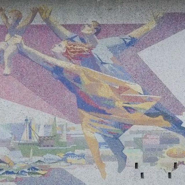 """""""Geneza"""", elemente primordiale ale vieții, mozaic din piatră naturală pe fațada Casei de Cultură Mangalia"""