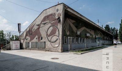 """Sgrafitto de mari dimensiuni pe fațada corpului pentru tribune, săli de antrenament și vestiare al Bazinului de înot """"Tolea Grințescu"""", stilizare a unor înotători de polo în acțiune"""
