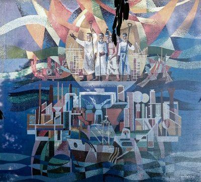 """""""Eroismul clasei muncitoare în lupta pentru industrializare"""", mozaic ceramic pe un bloc de locuințe."""